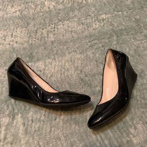 Cole Haan Wedge Patent Black Heels Dress Shoes